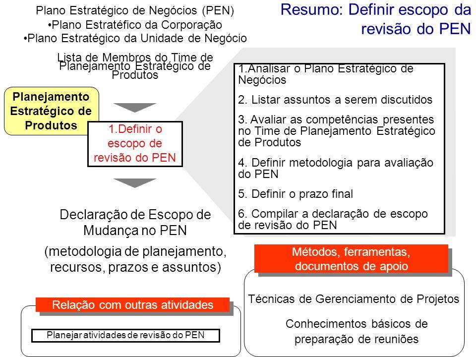 Resumo: Definir escopo da revisão do PEN