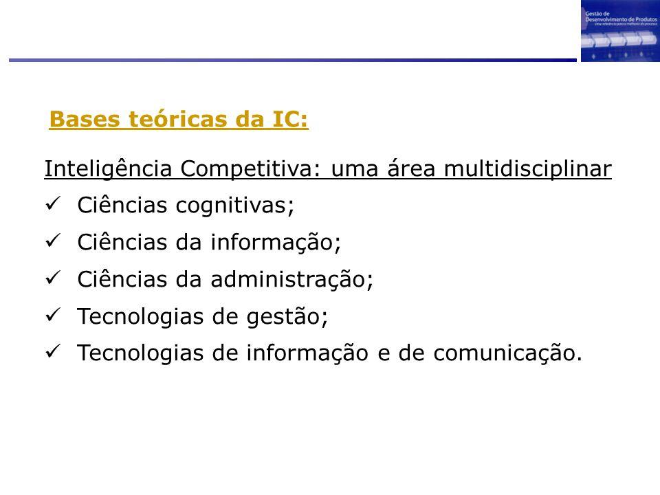 Bases teóricas da IC: Inteligência Competitiva: uma área multidisciplinar. Ciências cognitivas; Ciências da informação;