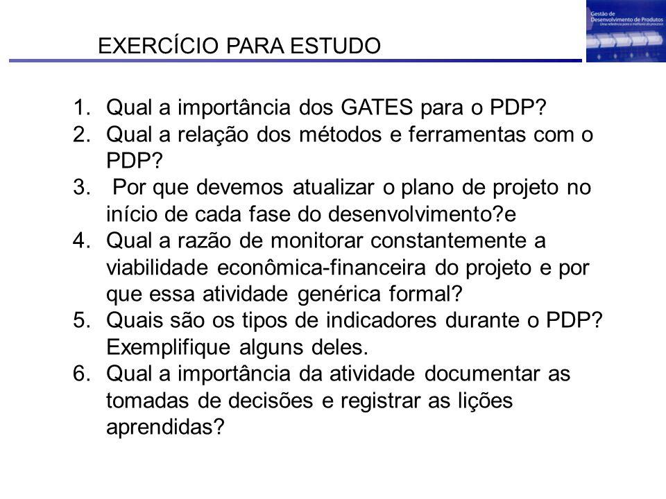 EXERCÍCIO PARA ESTUDO Qual a importância dos GATES para o PDP Qual a relação dos métodos e ferramentas com o PDP
