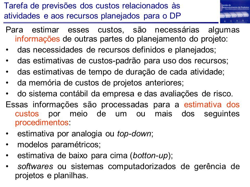Tarefa de previsões dos custos relacionados às atividades e aos recursos planejados para o DP