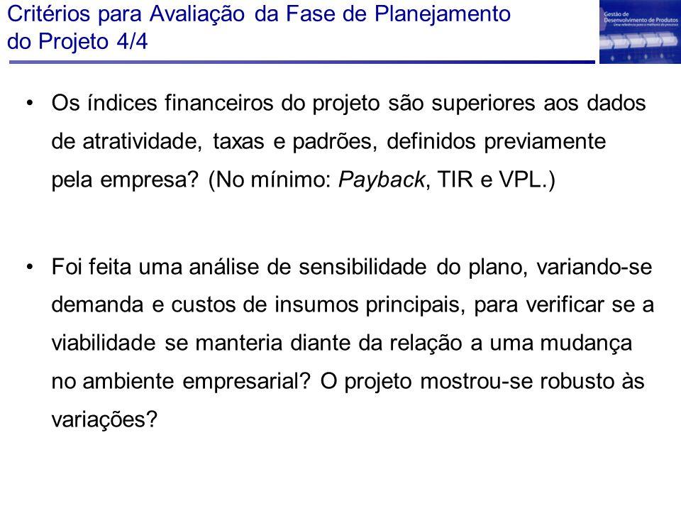 Critérios para Avaliação da Fase de Planejamento do Projeto 4/4