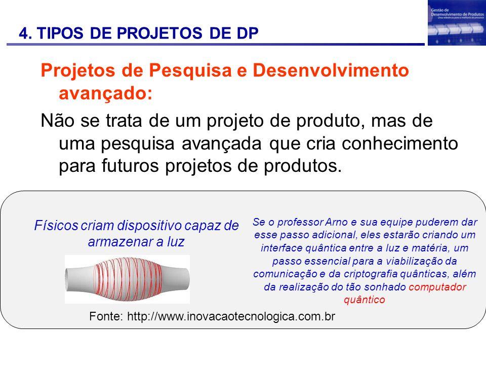 Projetos de Pesquisa e Desenvolvimento avançado:
