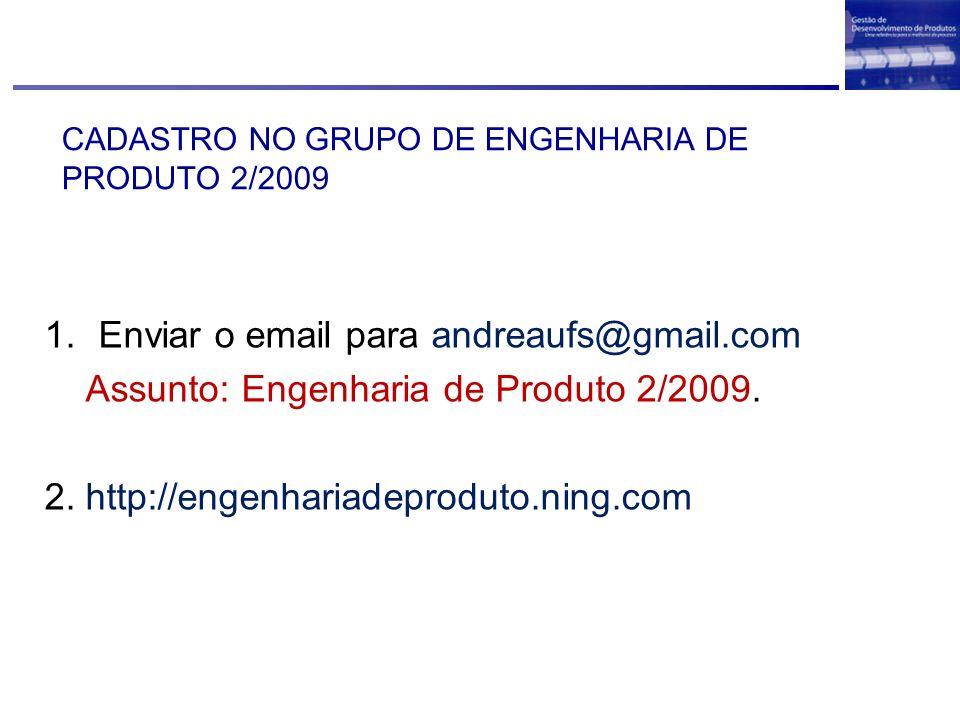 CADASTRO NO GRUPO DE ENGENHARIA DE PRODUTO 2/2009