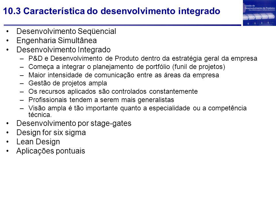 10.3 Característica do desenvolvimento integrado