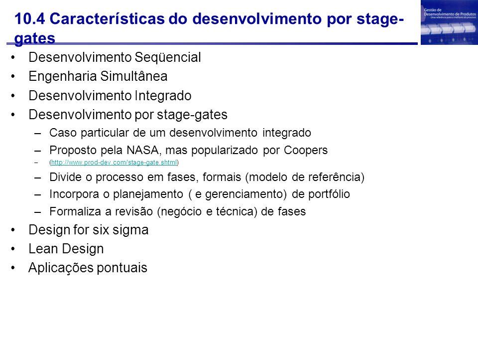 10.4 Características do desenvolvimento por stage-gates
