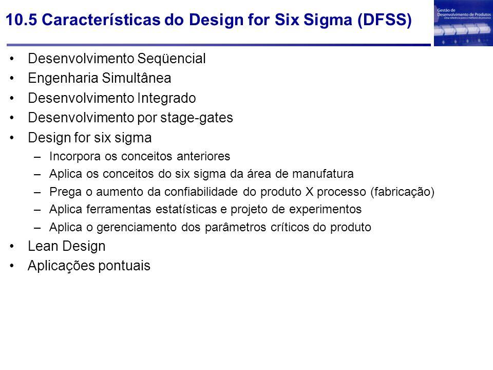 10.5 Características do Design for Six Sigma (DFSS)