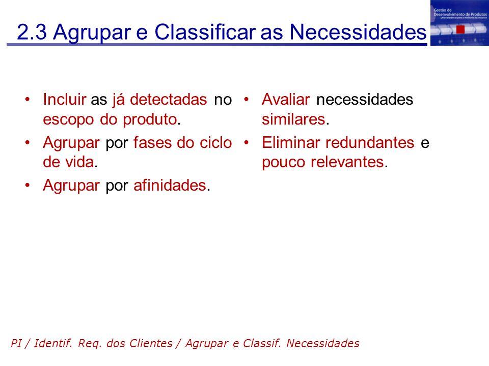 2.3 Agrupar e Classificar as Necessidades