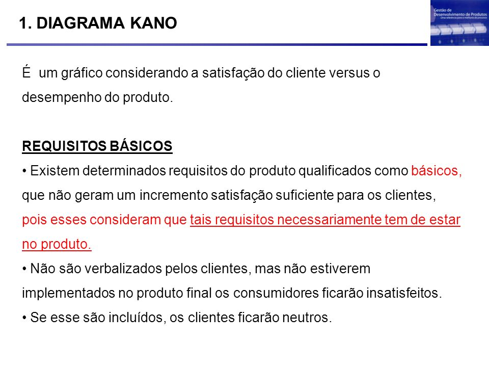 1. DIAGRAMA KANO É um gráfico considerando a satisfação do cliente versus o desempenho do produto.