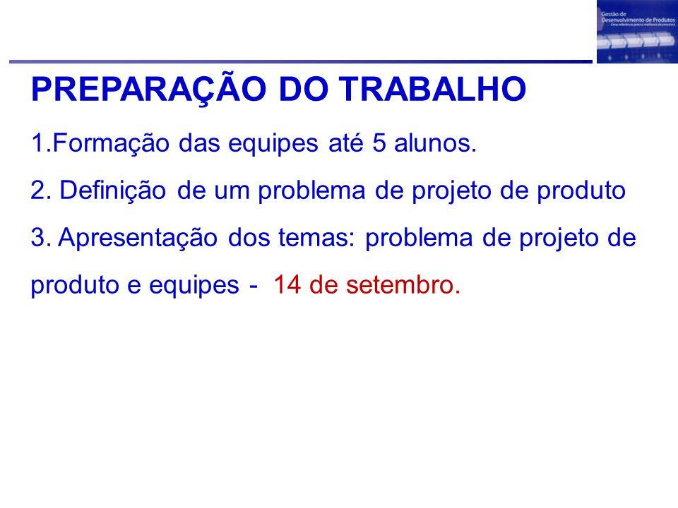 PREPARAÇÃO DO TRABALHO
