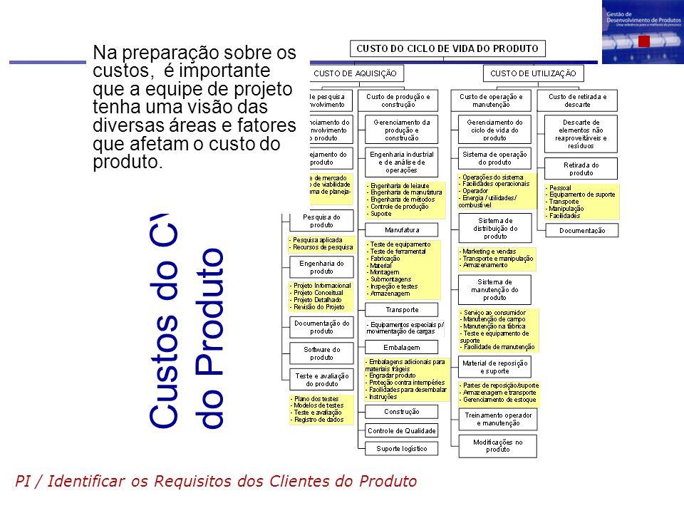 Na preparação sobre os custos, é importante que a equipe de projeto tenha uma visão das diversas áreas e fatores que afetam o custo do produto.