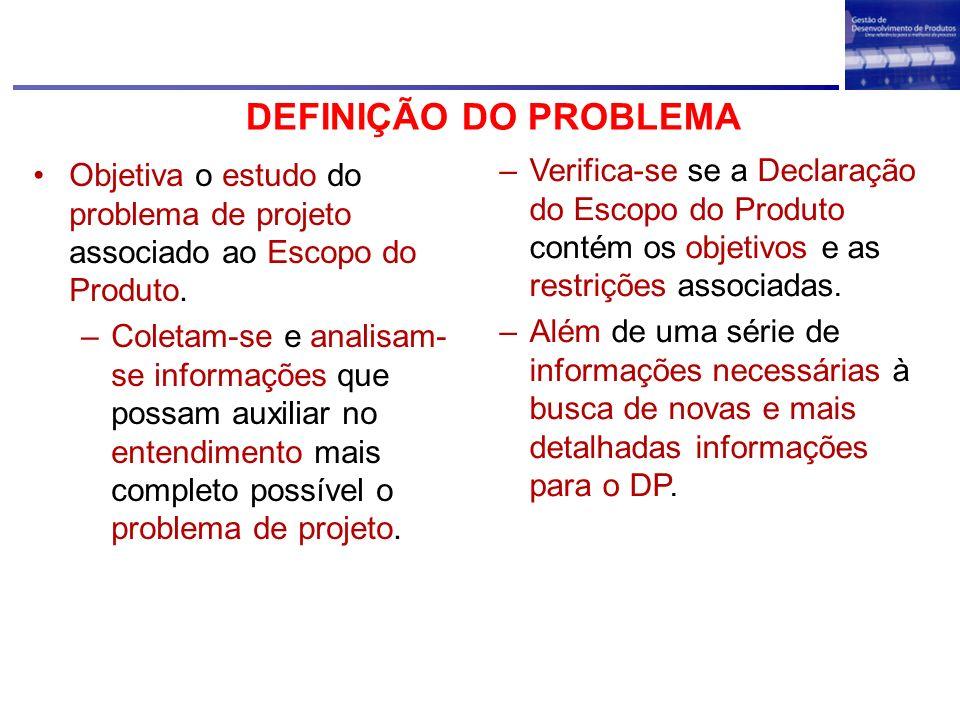 DEFINIÇÃO DO PROBLEMAObjetiva o estudo do problema de projeto associado ao Escopo do Produto.