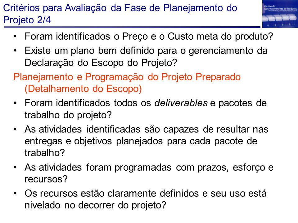 Critérios para Avaliação da Fase de Planejamento do Projeto 2/4