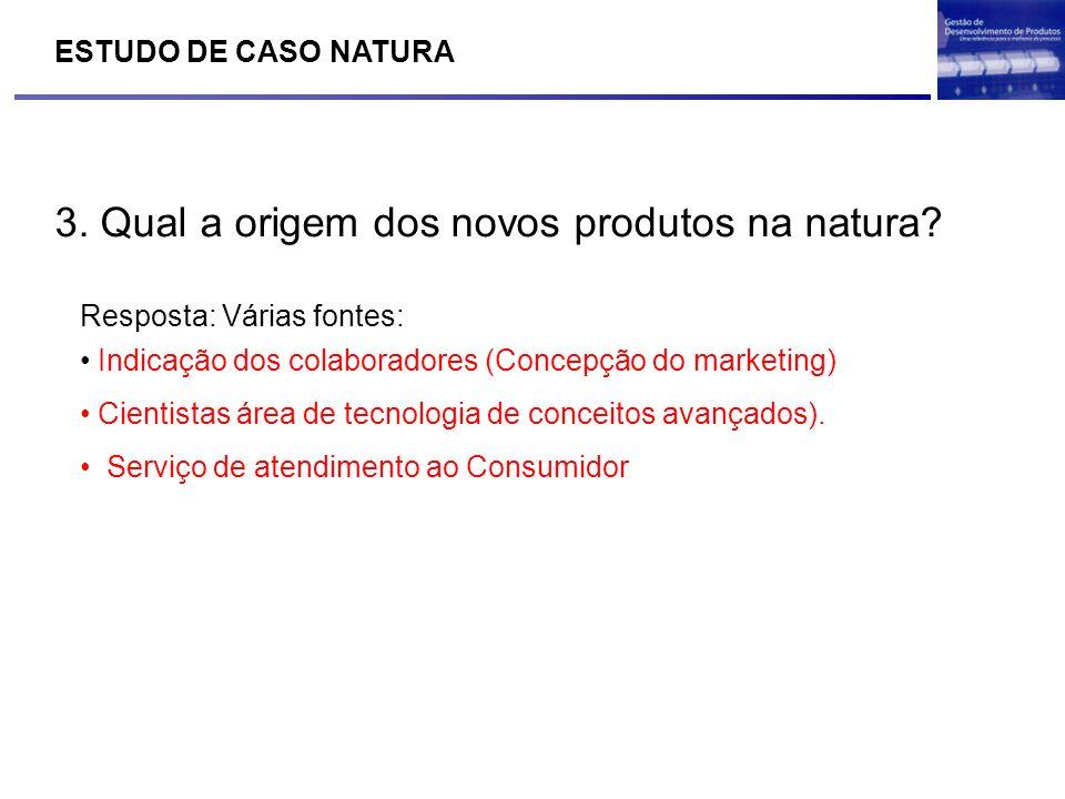 3. Qual a origem dos novos produtos na natura