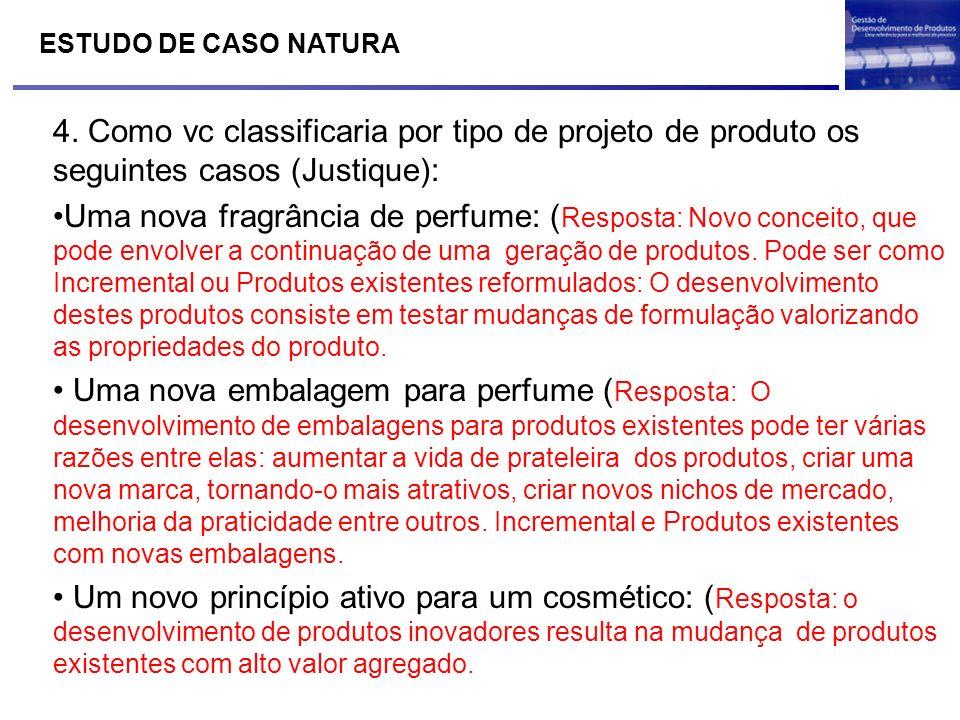 ESTUDO DE CASO NATURA 4. Como vc classificaria por tipo de projeto de produto os seguintes casos (Justique):