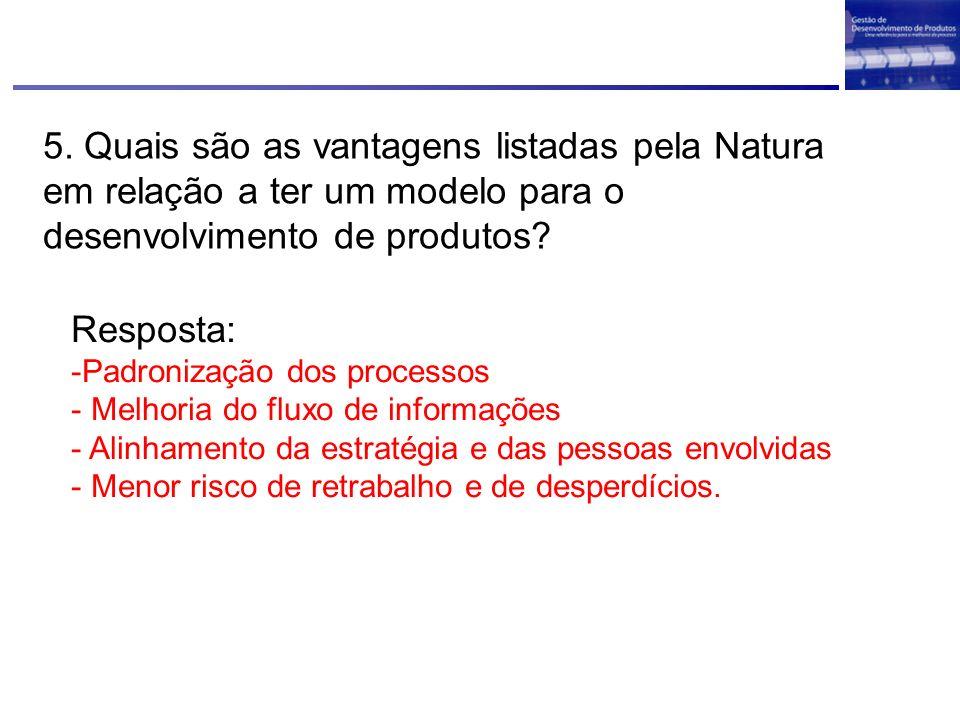 5. Quais são as vantagens listadas pela Natura em relação a ter um modelo para o desenvolvimento de produtos