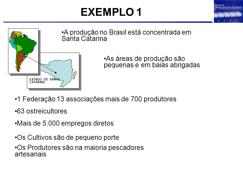 EXEMPLO 1 A produção no Brasil está concentrada em Santa Catarina