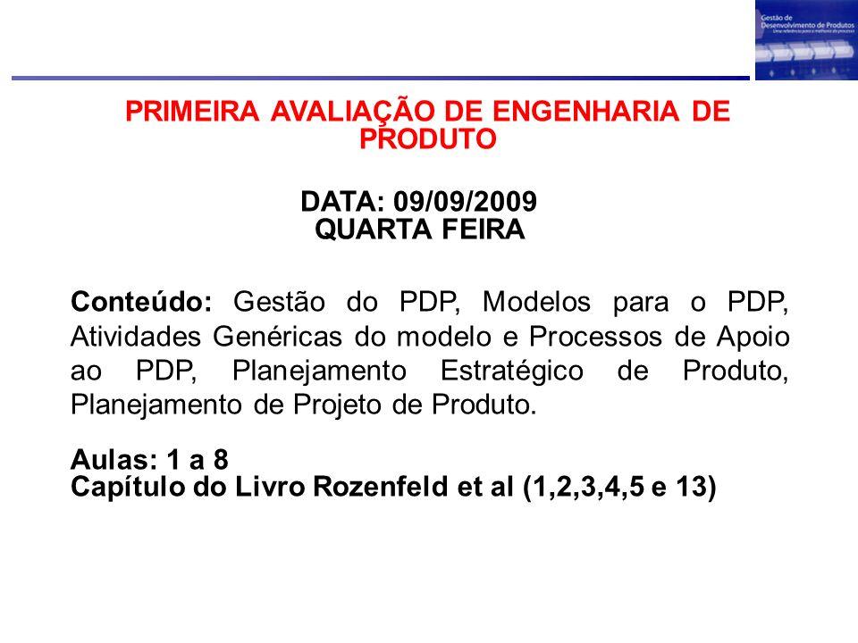 PRIMEIRA AVALIAÇÃO DE ENGENHARIA DE PRODUTO