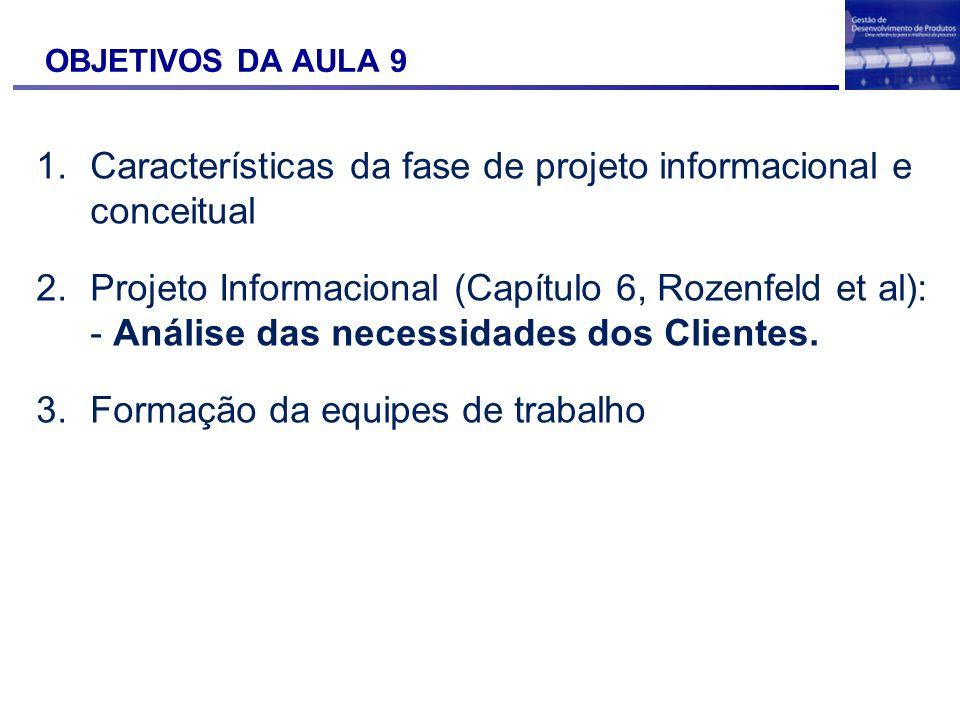 Características da fase de projeto informacional e conceitual