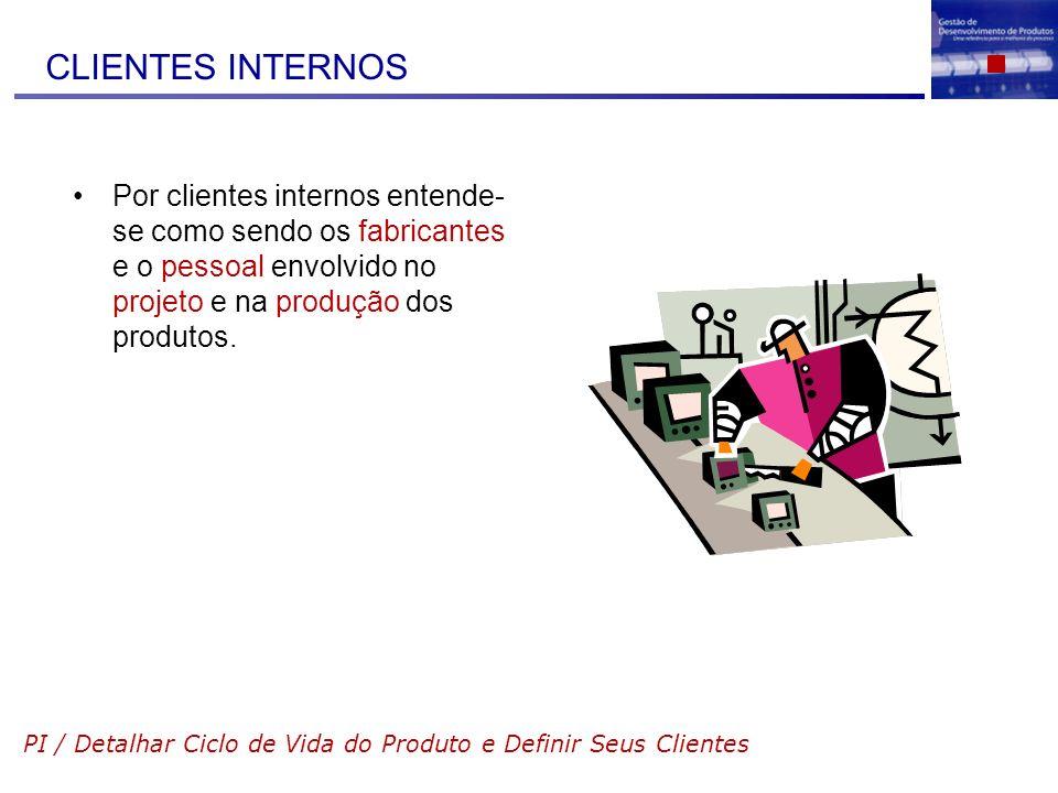 CLIENTES INTERNOS Por clientes internos entende-se como sendo os fabricantes e o pessoal envolvido no projeto e na produção dos produtos.