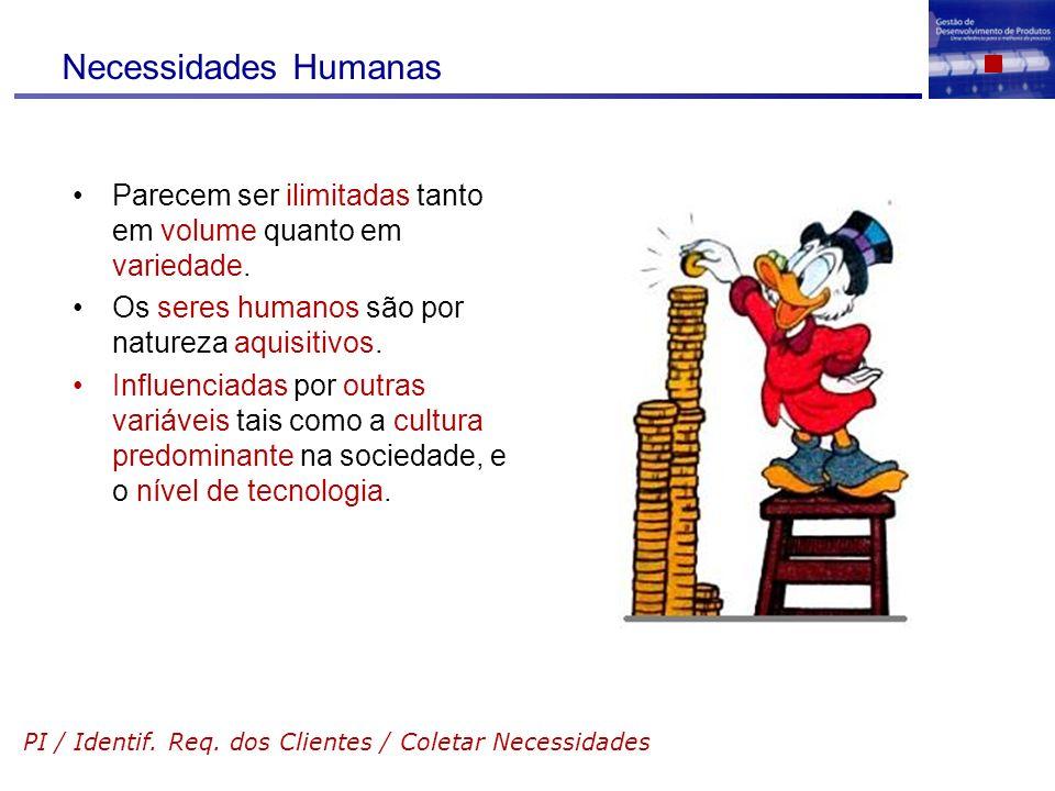 Necessidades Humanas Parecem ser ilimitadas tanto em volume quanto em variedade. Os seres humanos são por natureza aquisitivos.