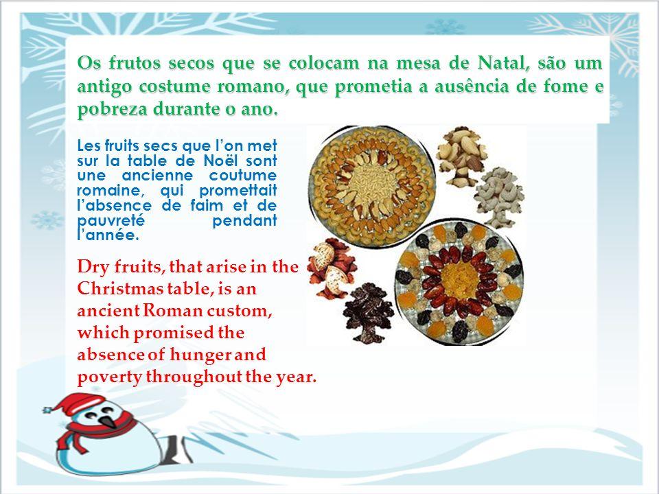 Os frutos secos que se colocam na mesa de Natal, são um antigo costume romano, que prometia a ausência de fome e pobreza durante o ano.