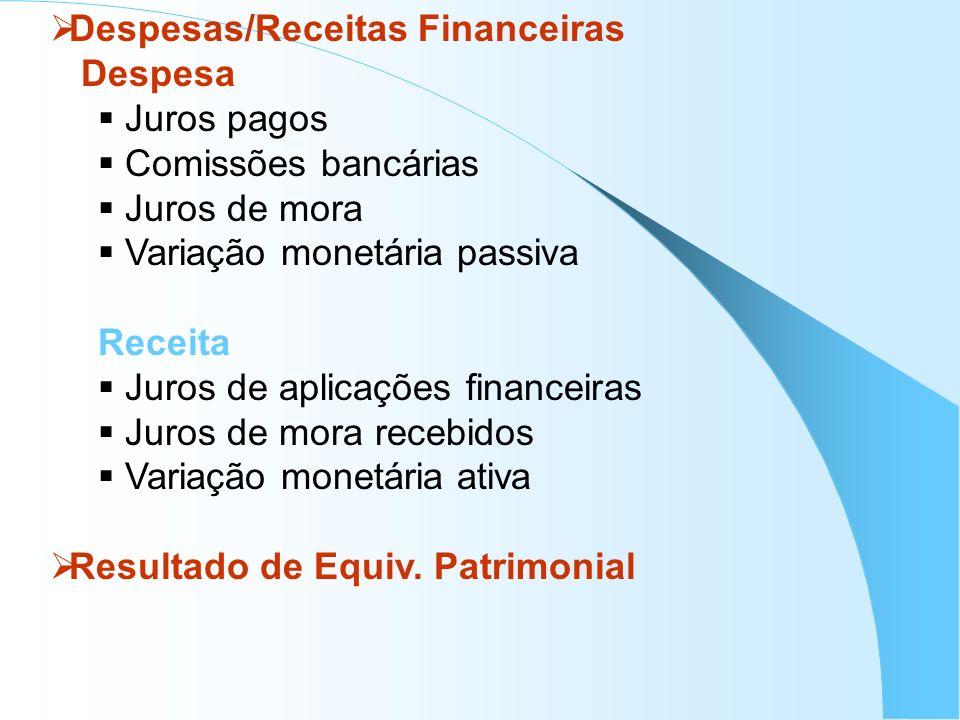 Despesas/Receitas Financeiras