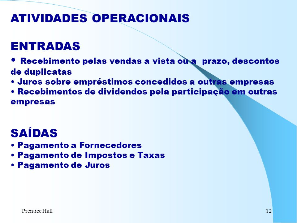 ATIVIDADES OPERACIONAIS ENTRADAS