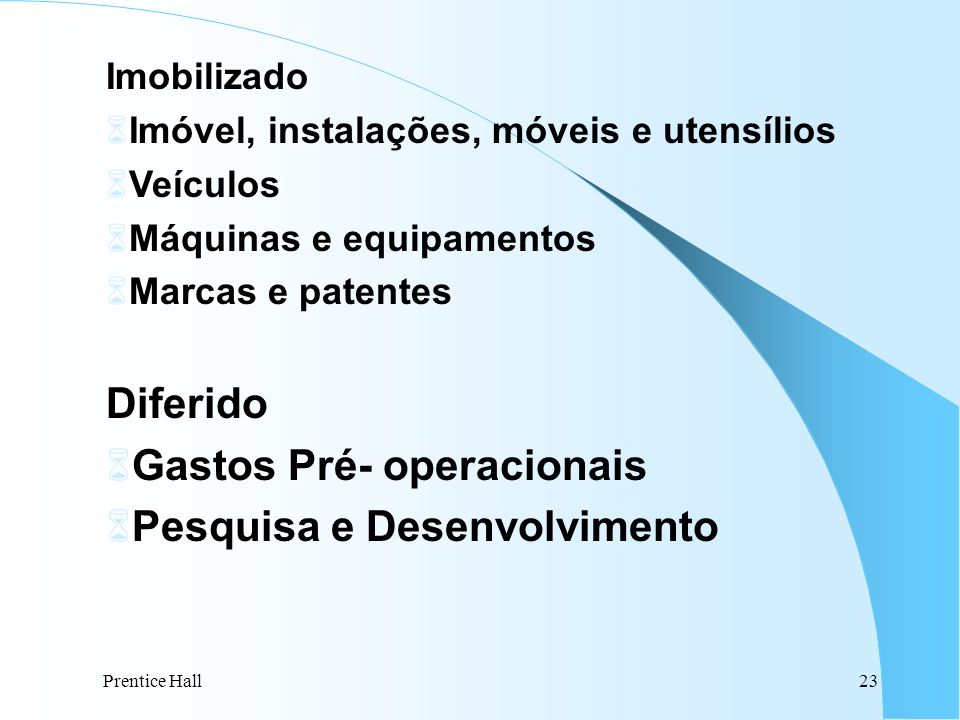 Gastos Pré- operacionais Pesquisa e Desenvolvimento