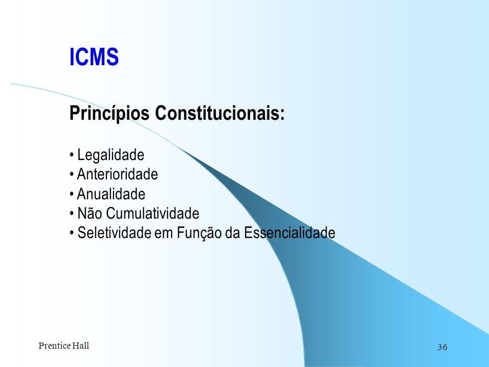 ICMS Princípios Constitucionais: Legalidade Anterioridade Anualidade