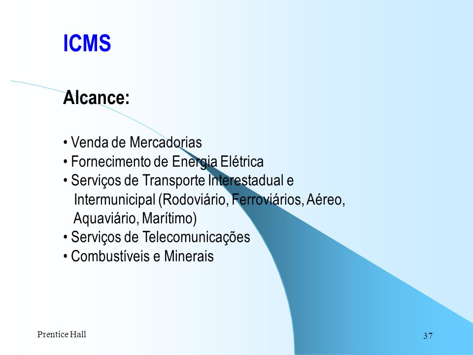 ICMS Alcance: Venda de Mercadorias Fornecimento de Energia Elétrica