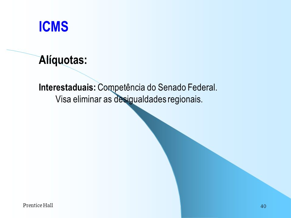 ICMS Alíquotas: Interestaduais: Competência do Senado Federal.