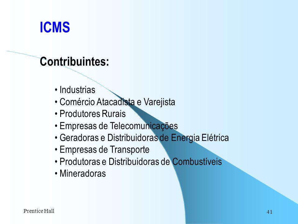 ICMS Contribuintes: Industrias Comércio Atacadista e Varejista