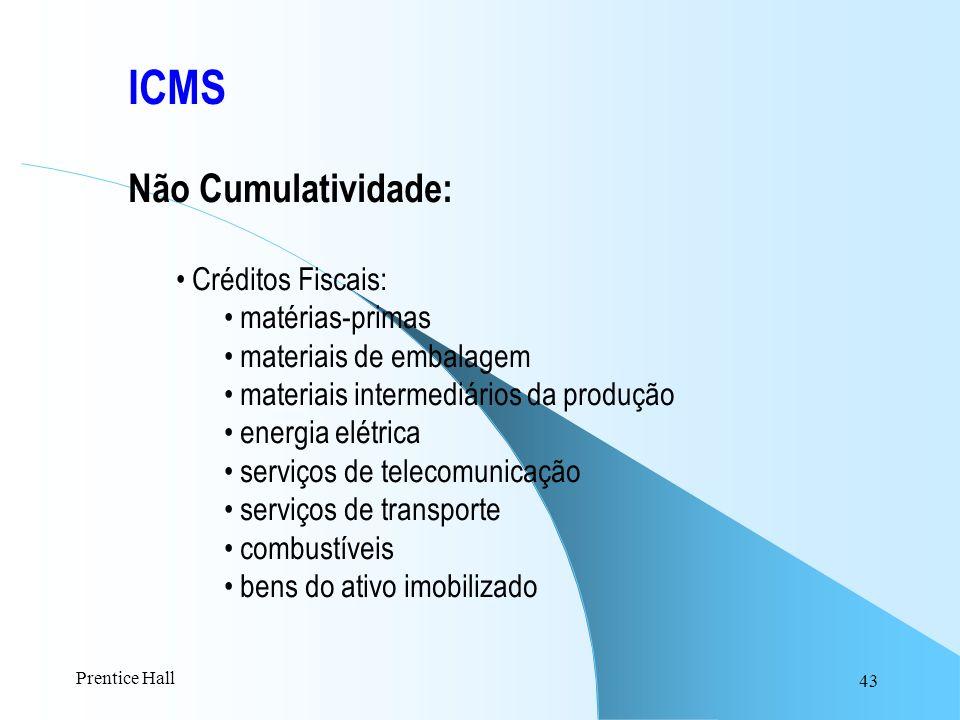 ICMS Não Cumulatividade: Créditos Fiscais: matérias-primas