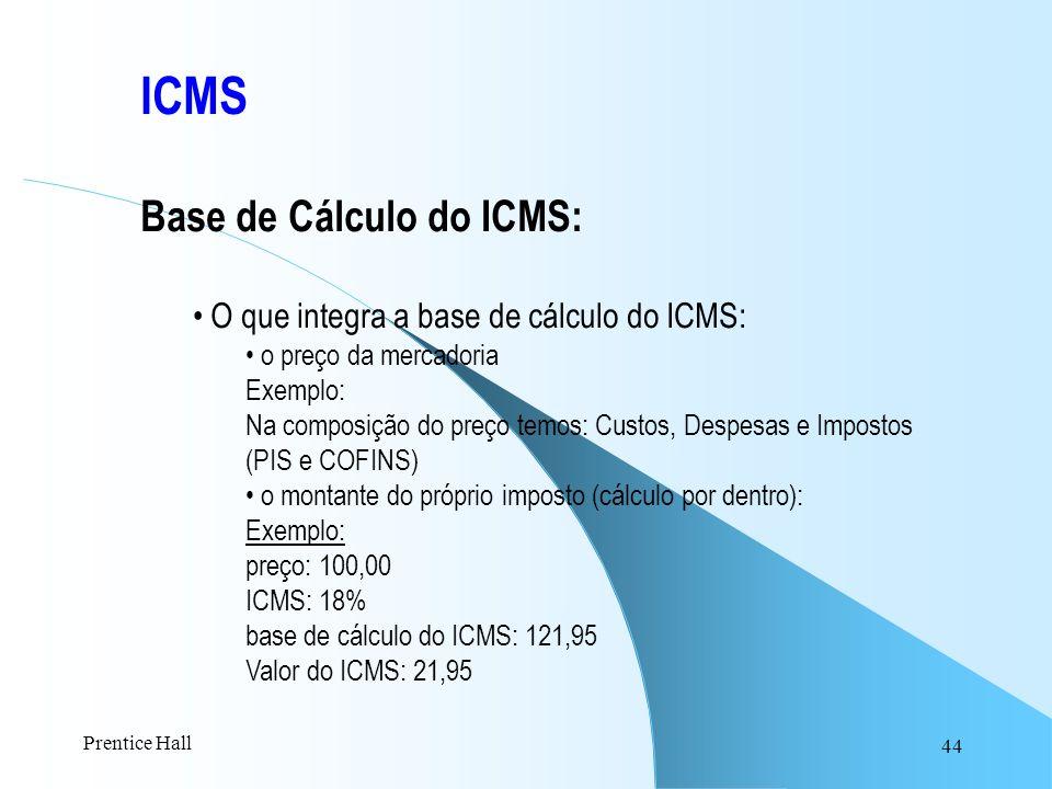 ICMS Base de Cálculo do ICMS: O que integra a base de cálculo do ICMS:
