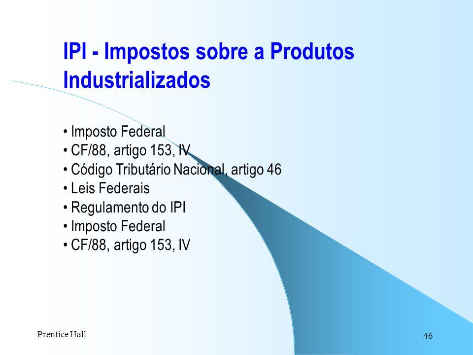 IPI - Impostos sobre a Produtos Industrializados