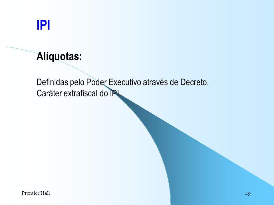 IPI Alíquotas: Definidas pelo Poder Executivo através de Decreto.