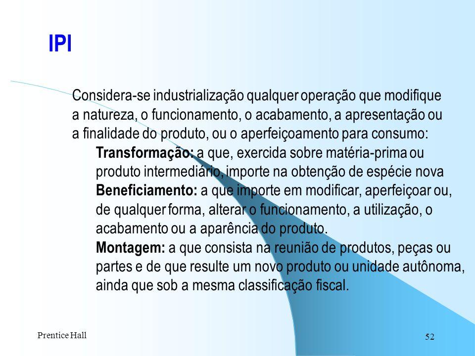 IPI Considera-se industrialização qualquer operação que modifique