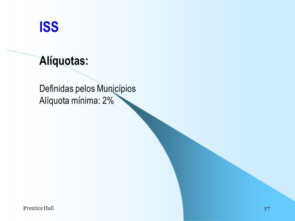 ISS Alíquotas: Definidas pelos Municípios Alíquota mínima: 2%