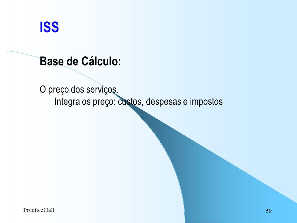 ISS Base de Cálculo: O preço dos serviços.