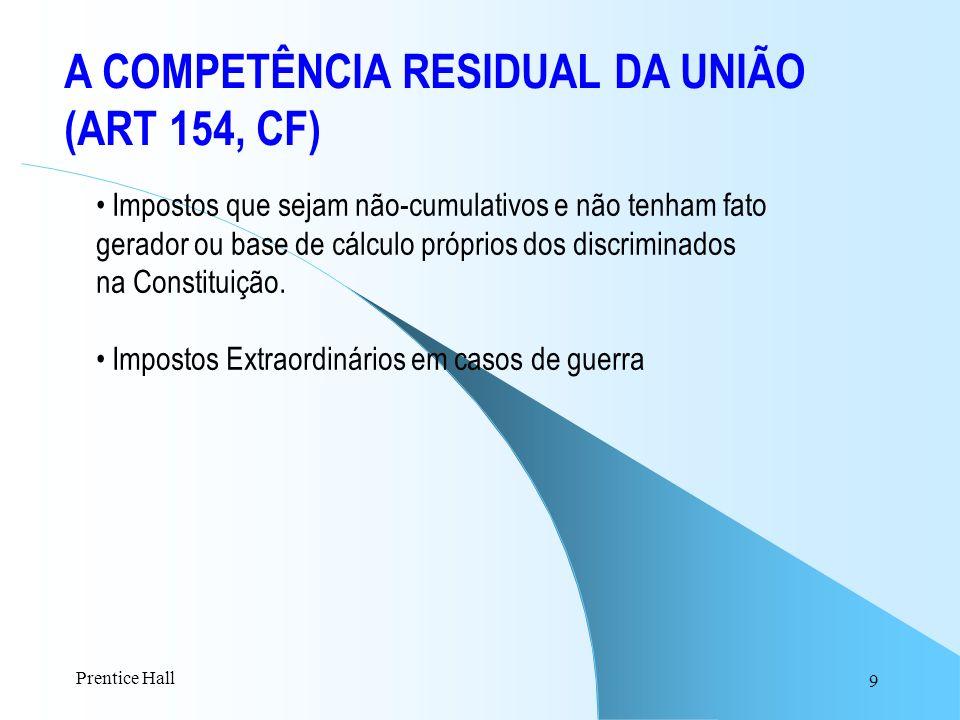 A COMPETÊNCIA RESIDUAL DA UNIÃO (ART 154, CF)