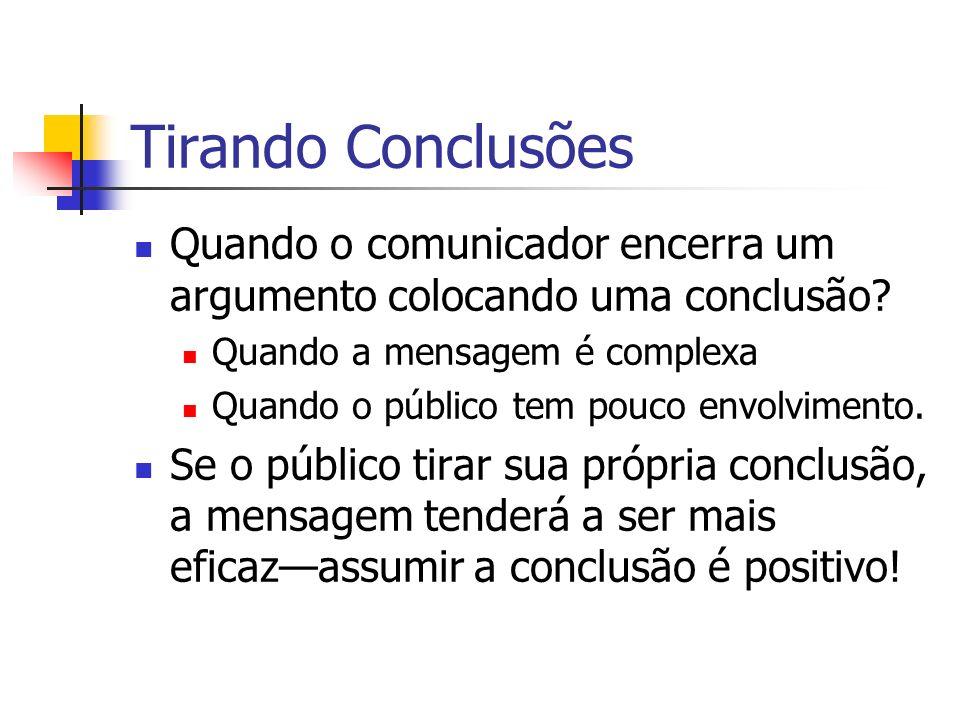 Tirando Conclusões Quando o comunicador encerra um argumento colocando uma conclusão Quando a mensagem é complexa.