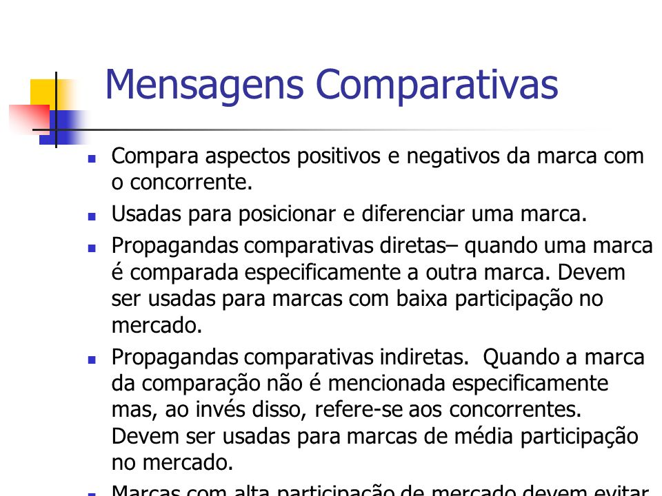 Mensagens Comparativas