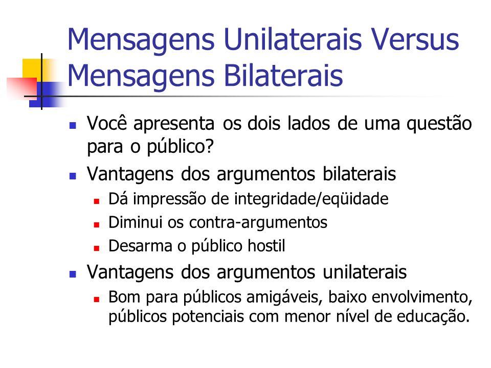 Mensagens Unilaterais Versus Mensagens Bilaterais