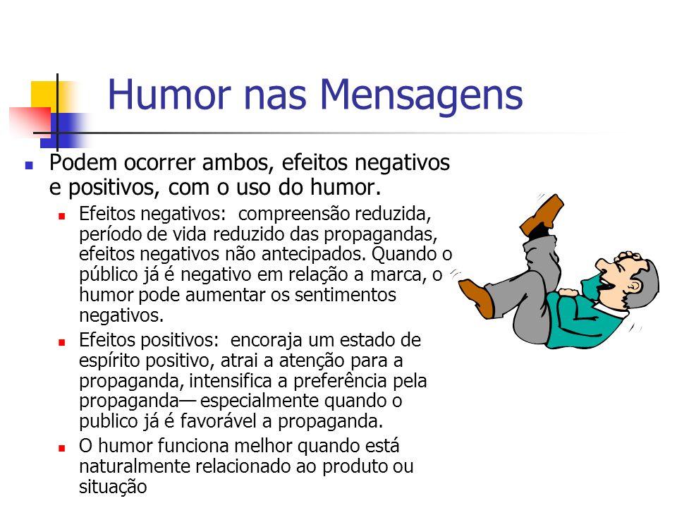 Humor nas Mensagens Podem ocorrer ambos, efeitos negativos e positivos, com o uso do humor.