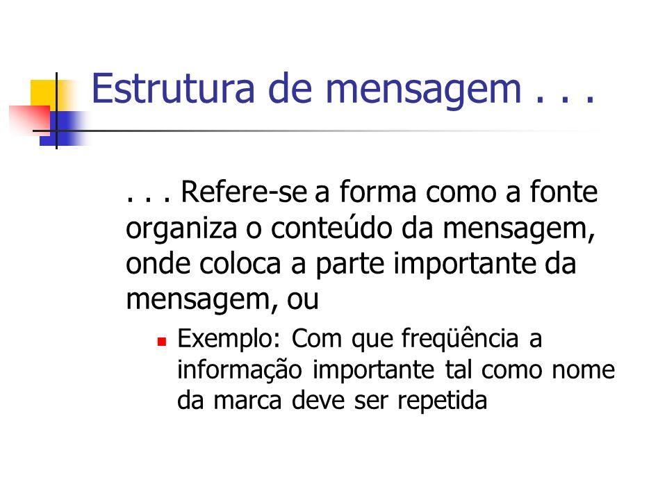 Estrutura de mensagem . . . . . . Refere-se a forma como a fonte organiza o conteúdo da mensagem, onde coloca a parte importante da mensagem, ou.