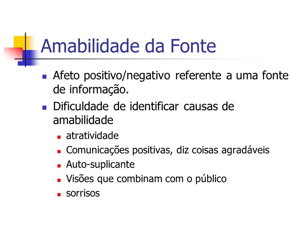 Amabilidade da Fonte Afeto positivo/negativo referente a uma fonte de informação. Dificuldade de identificar causas de amabilidade.