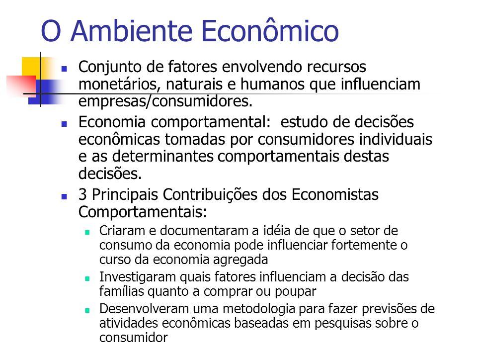 O Ambiente Econômico Conjunto de fatores envolvendo recursos monetários, naturais e humanos que influenciam empresas/consumidores.