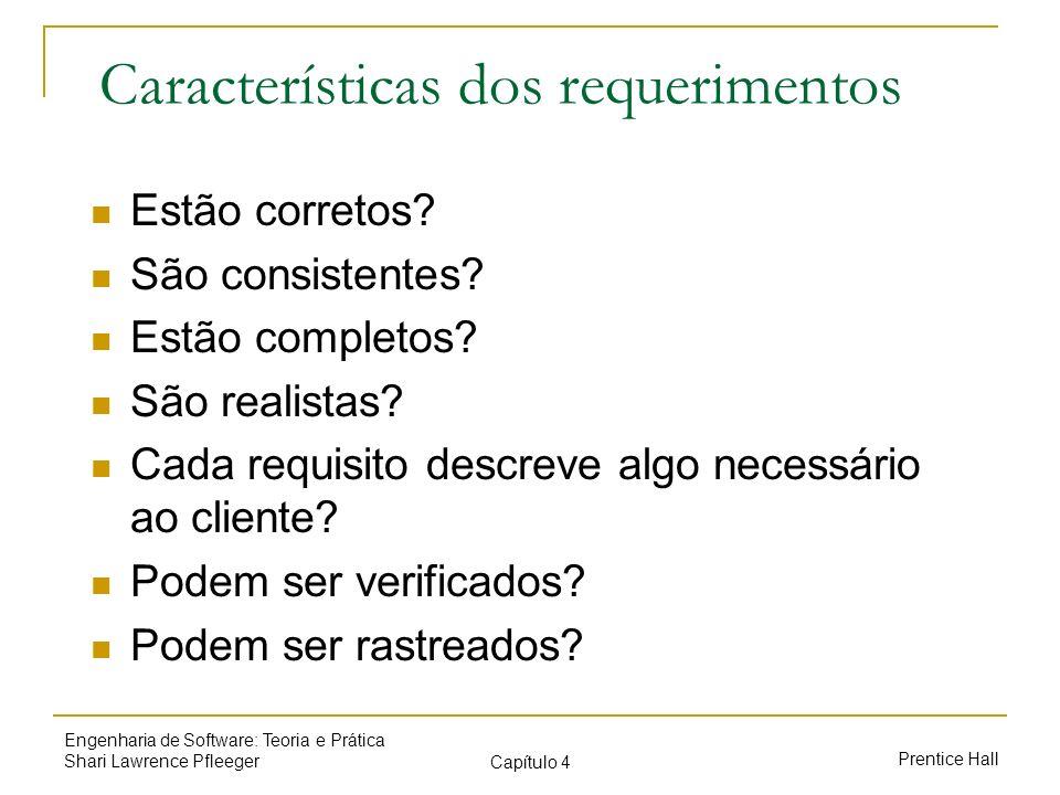 Características dos requerimentos
