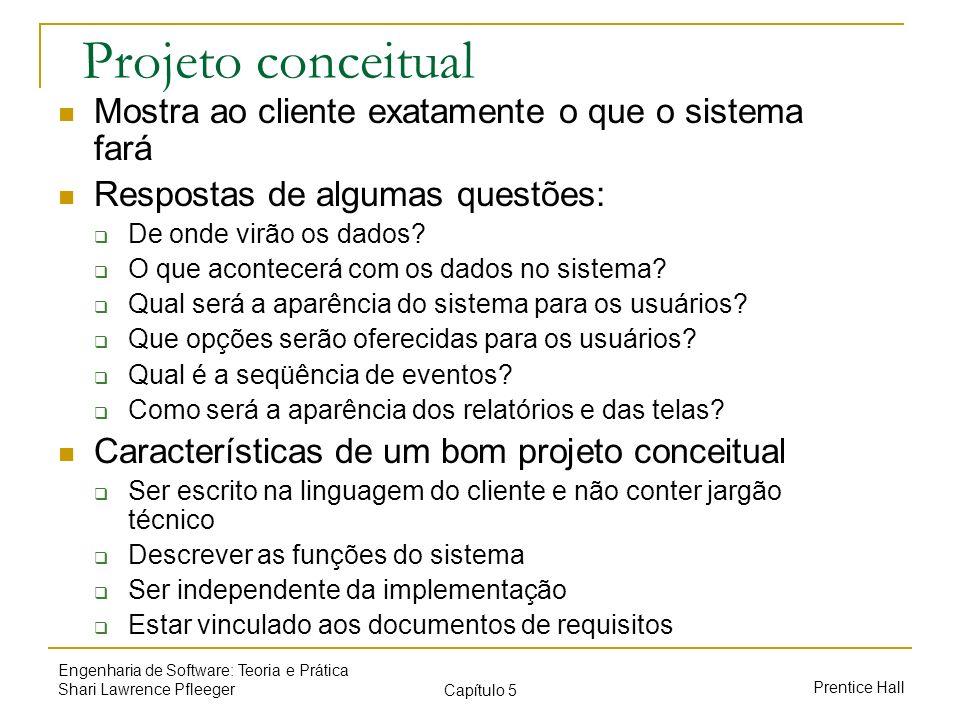 Projeto conceitual Mostra ao cliente exatamente o que o sistema fará