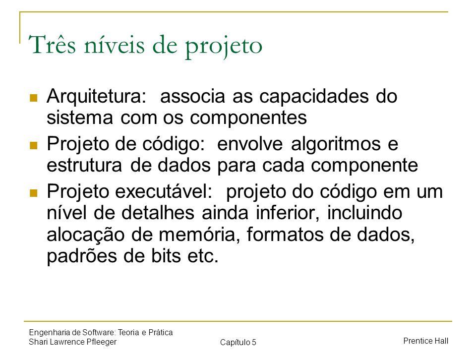 Três níveis de projeto Arquitetura: associa as capacidades do sistema com os componentes.